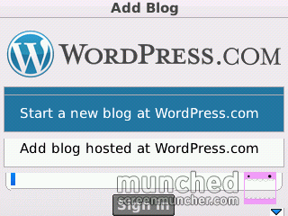 Tampilan Awal WordPress for BlackBerry