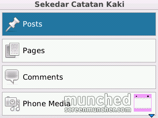 Menu utama WordPress for BlackBerry